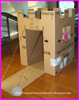 Cardboard box makeover...into a castle!