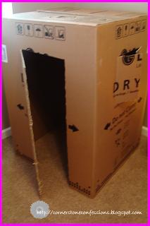 Cardboard box makeover...into a castle!