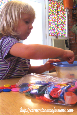 Button Sorting. Love these buttons by the way. Great for sorting shapes, color, size, you name it.