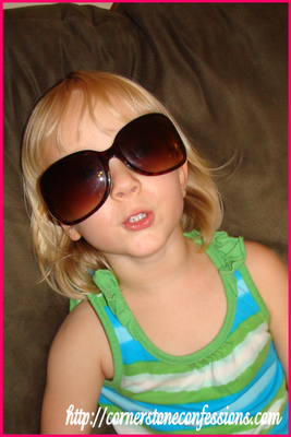Taking a break--just lookin' cool in Mama's glasses