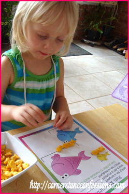 Measuring fish with a worksheet from Confessions of a Homeschooler