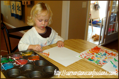 """Painting with puff paint.  """"Look Mom.  It's getting all puffy in the microwave!"""""""
