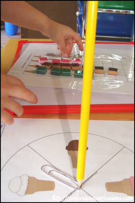 Playing Ice Cream Spin and Graph (Peanut's favorite game of the week) from 2 Teaching Mommies