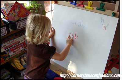 Practice erase-writing first name on the white board