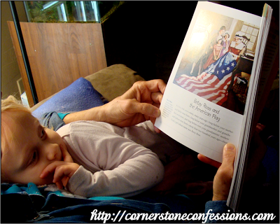 Reading about Betsy Ross with Meemaw