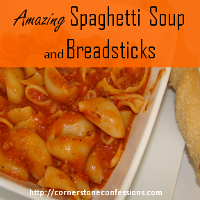 Amazing Spaghetti Soup and Breadsticks