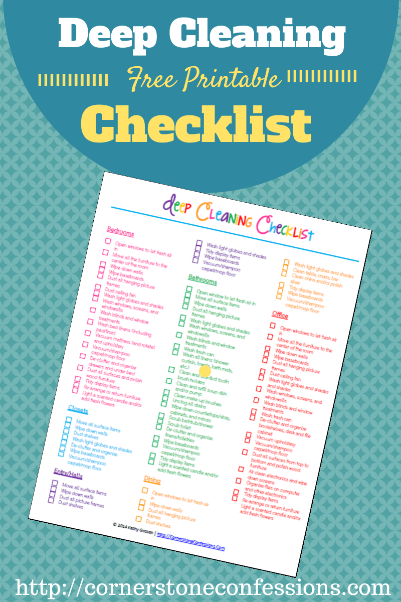 Deep Cleaning Checklist {Free Printable} - Cornerstone Confessions