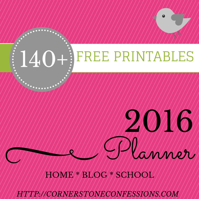 NEW! 2016 Planner Printables - Cornerstone Confessions
