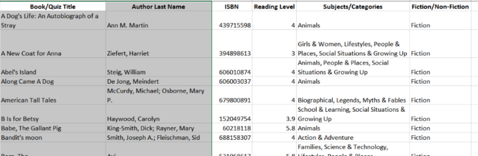 Book List--Free Excel download for homeschool planning