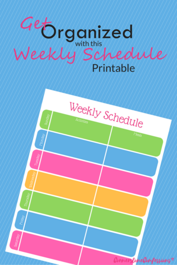 Get Organized with this Weekly Schedule Printable