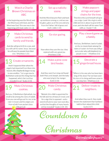 Easy and Fun Countdown to CHRISTmas Printable--Activities and Bible verses included