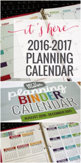 2016-2017 Planning Calendar from Kindergartenworks