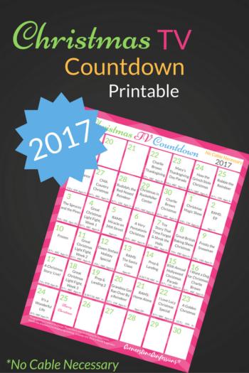 FREE 2017 Christmas TV Countdown Printable