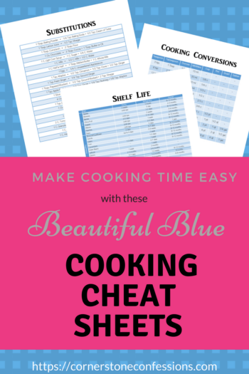 Make Cooking Time Easy with These Beautiful Blue Cooking Cheat Sheets--FREE Printables!