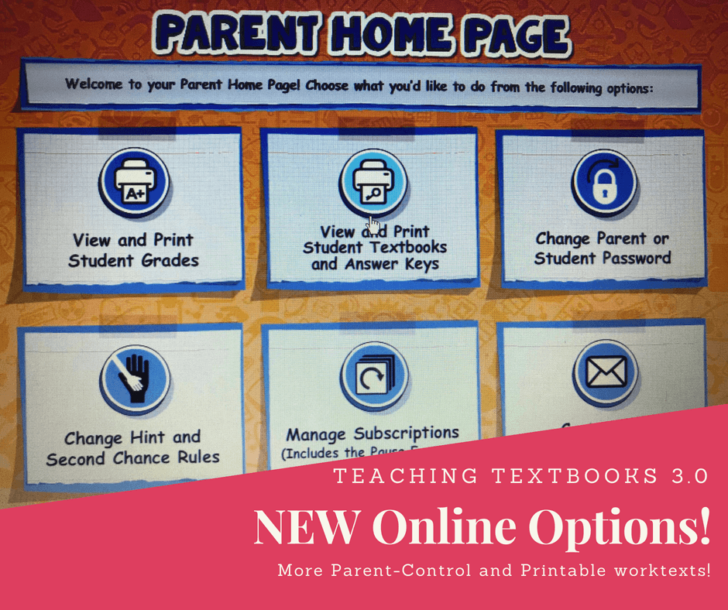 Teaching Textbooks 3.0 Parent Controls